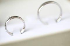 Anillos de bodas en un rectángulo Imágenes de archivo libres de regalías