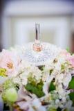 Anillos de bodas en un soporte para los anillos Fotografía de archivo libre de regalías