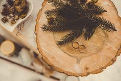 Anillos de bodas en un tocón de madera Fotografía de archivo