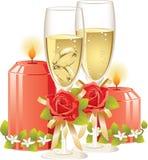 Anillos de bodas en un vidrio de champán Imagen de archivo libre de regalías