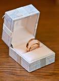 Anillos de bodas en una caja de regalo Imágenes de archivo libres de regalías