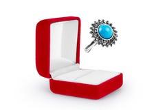 Anillos de bodas en una caja de regalo en el fondo blanco Fotografía de archivo libre de regalías