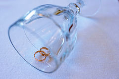 Anillos de bodas hermosos para la novia y el novio Foto de archivo libre de regalías
