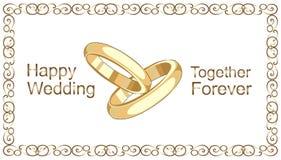 Anillos de bodas, marco de oro del vintage libre illustration