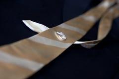 Anillos de bodas puestos en un lazo y un traje. Fotografía de archivo libre de regalías
