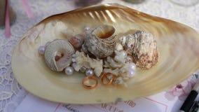 anillos de bodas y conchas marinas con las perlas almacen de metraje de vídeo