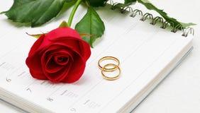 Anillos de bodas y Rose roja Fotos de archivo
