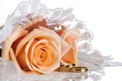 Anillos de bodas y velo Imagenes de archivo