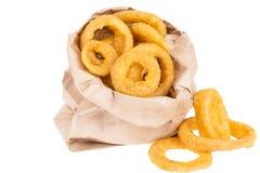 Anillos de cebolla fritos Foto de archivo libre de regalías