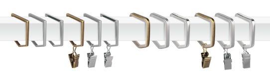 Anillos de cortina para los aleros Anillos del metal con los clips para las cornisas Foto de archivo