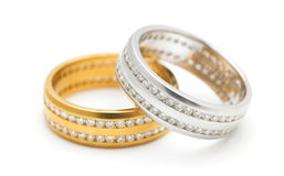 Anillos de diamante Imagen de archivo libre de regalías
