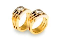 Anillos de diamante del oro Fotografía de archivo