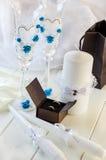 Anillos de Edding y accesorios de la boda Fotos de archivo