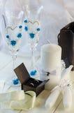 Anillos de Edding y accesorios de la boda Fotografía de archivo libre de regalías