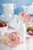 Anillos de espuma cocidos con el esmalte rosado Fotografía de archivo