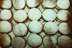 20 anillos de espuma con el polvo del azúcar en una caja Foto de archivo libre de regalías