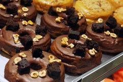 Anillos de espuma del chocolate Fotos de archivo libres de regalías