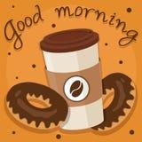 Anillos de espuma y café del hocolate del ¡de Ð en taza plástica en fondo anaranjado stock de ilustración