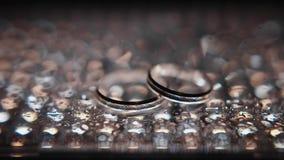 Anillos de la bodas de plata entre los descensos Imagen de archivo libre de regalías