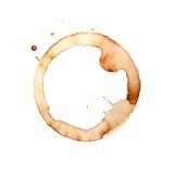 Anillos de la taza de café en un fondo blanco Imágenes de archivo libres de regalías