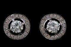 Anillos de oído con los diamantes Imagen de archivo libre de regalías