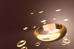 Anillos de oro Imagen de archivo libre de regalías