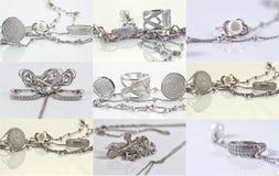 Anillos de plata finos y cadena de plata inusual Fotos de archivo
