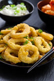 Anillos fritos del calamari Fotografía de archivo libre de regalías
