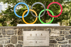 Anillos olímpicos Imágenes de archivo libres de regalías