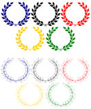 Anillos olímpicos de las guirnaldas del laurel stock de ilustración