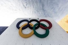 Anillos olímpicos Montreal Imagen de archivo libre de regalías