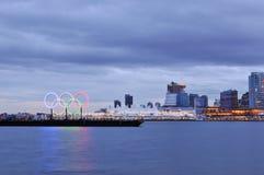 Anillos olímpicos en el puerto de Vancouver Fotografía de archivo