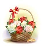 Anillos y cesta de mimbre con las rosas. Foto de archivo libre de regalías