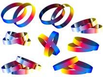 Anillos y pulseras del arco iris del matrimonio homosexual stock de ilustración
