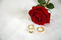 Anillos y rosas imagen de archivo libre de regalías