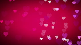 Animé beaucoup de petits coeurs blancs pourpres roses mobiles sur la salutation utile de fond noir rose pour souhaiter et célébre illustration libre de droits