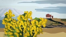 Animação abstrata da paisagem com árvore amarela Animação dos desenhos animados das flores amarelas de florescência da árvore que ilustração royalty free
