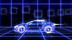 Animação abstrata do carro super futurista azul feito com wireframes do feixe luminoso na cena futurista do fundo da cidade