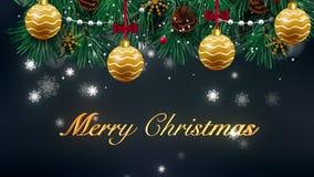 Animação bonita da aparência do texto do Feliz Natal no céu do inverno da noite Texto feito das estrelas HD 1080 video estoque