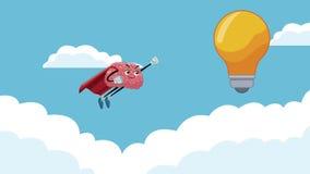 Animação bonito do super-herói HD do cérebro ilustração royalty free