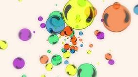 Animação colorida das partículas das bolas do fulgor do voo abstrato ilustração royalty free