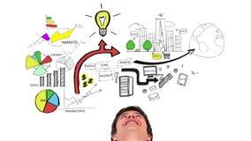 Animação colorida que mostra o plano de negócios e um homem de sorriso video estoque