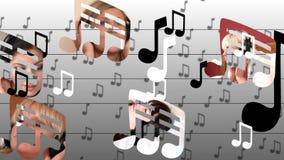 Animação conservada em estoque que apresenta a música de escuta das mulheres calmas ilustração royalty free