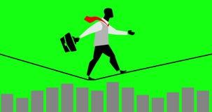 Animação criativa do laço do homem de negócios que anda em uma corda sobre um gráfico