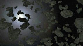 animação 3d da correia asteroide no espaço ilustração stock