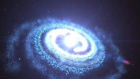 animação 3D da galáxia e da nebulosa com luz de brilho da estrela e stardust que gira e que gira em universo ilimitado do espaço  ilustração do vetor