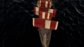 animação 3D de um navio de guerra de madeira velho no oceano video estoque