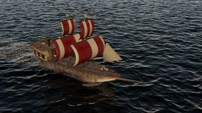 animação 3D de um navio de guerra de madeira velho no oceano filme