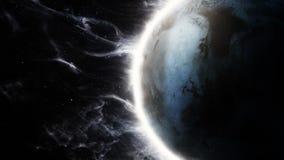 animação 3D de um planeta estrangeiro com atmosfera de surpresa ilustração royalty free