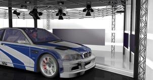 animação 3D de uma câmera em torno de um carro ilustração stock